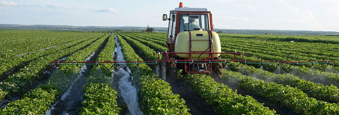 Pesticide spray fields of poison